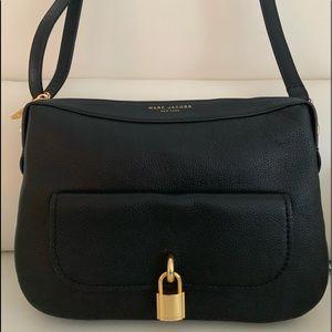 Marc Jacobs Black Lock That Leather Messenger Bag